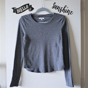 Madewell Sweaters - Madwell Black Gray Crew Neck Thermal Sweater Top M